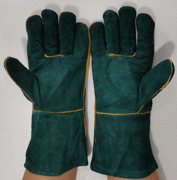 14 Heavy Duty Industrial Welding Hand Glove Dark Green Color / Pair