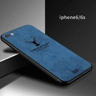 Cho [Apple iPhone 6 6S] Ốp Lưng Họa Tiết Nai Sừng Tấm Dệt Vải Bạt Mềm Hình Hươu Cổ Điển thumbnail