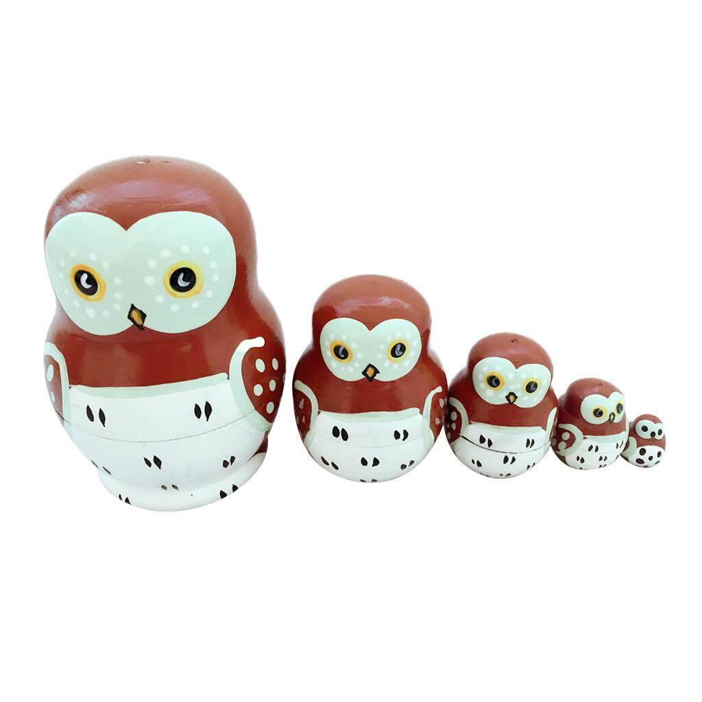 Gazechimp Set of 5pcs Painted Wooden Owl Bird Nesting Dolls Matryoshka Russian Doll Kids Gift