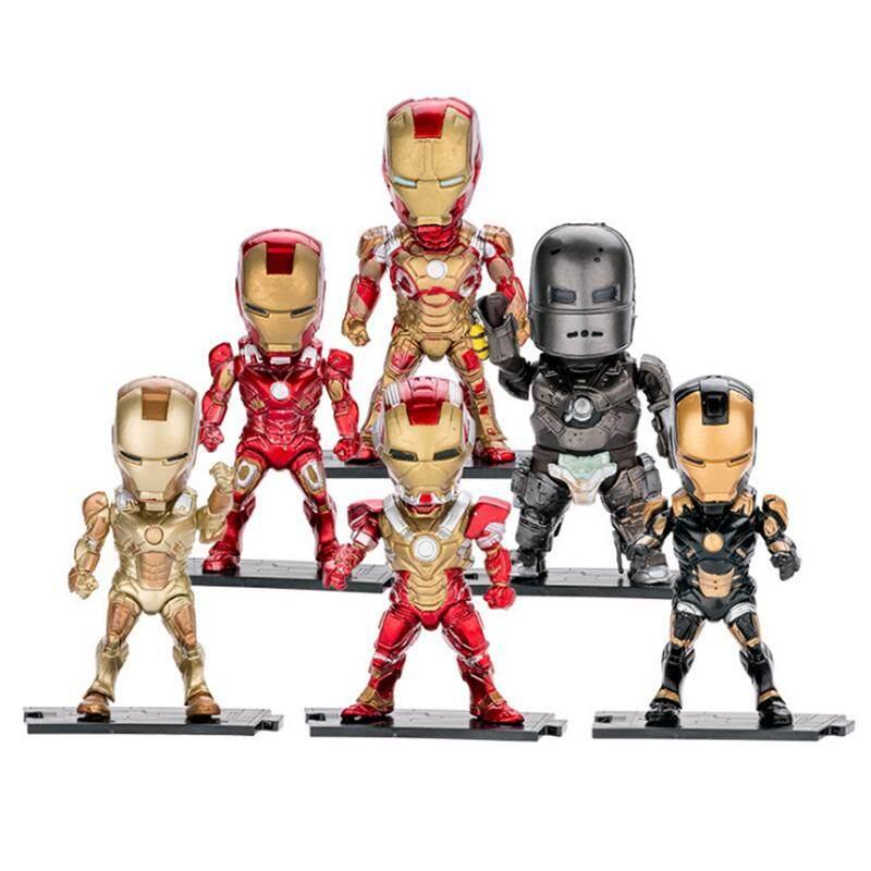 6pcs/lots Cute Nendoroid 4 Movie Iron Man Mark7 Tony Stark Set Pvc Action Figure Collection Model Toy Ironman Free Shipping By Hi Toy.