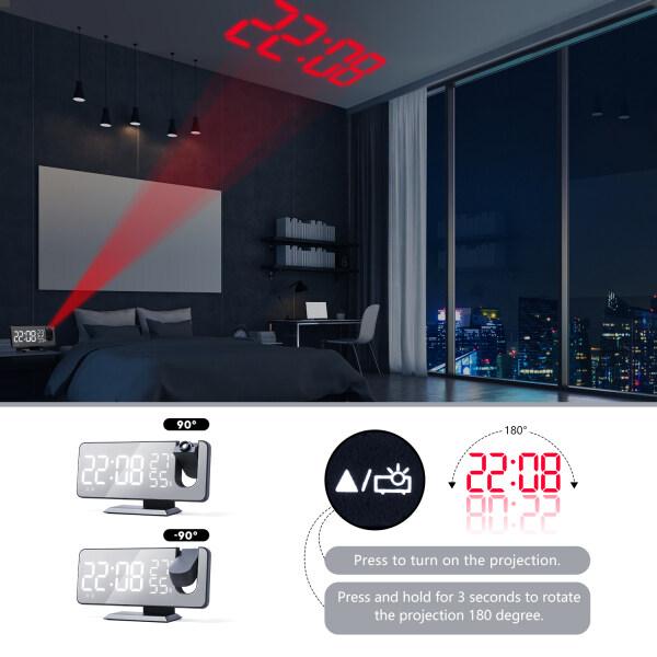 【High Quality】Digital Đồng Hồ Báo Thức, Đa Chức Năng Đài Phát Thanh Chiếu Màn Hình LED Độ Ẩm Màn Hình Lớn-Intl bán chạy