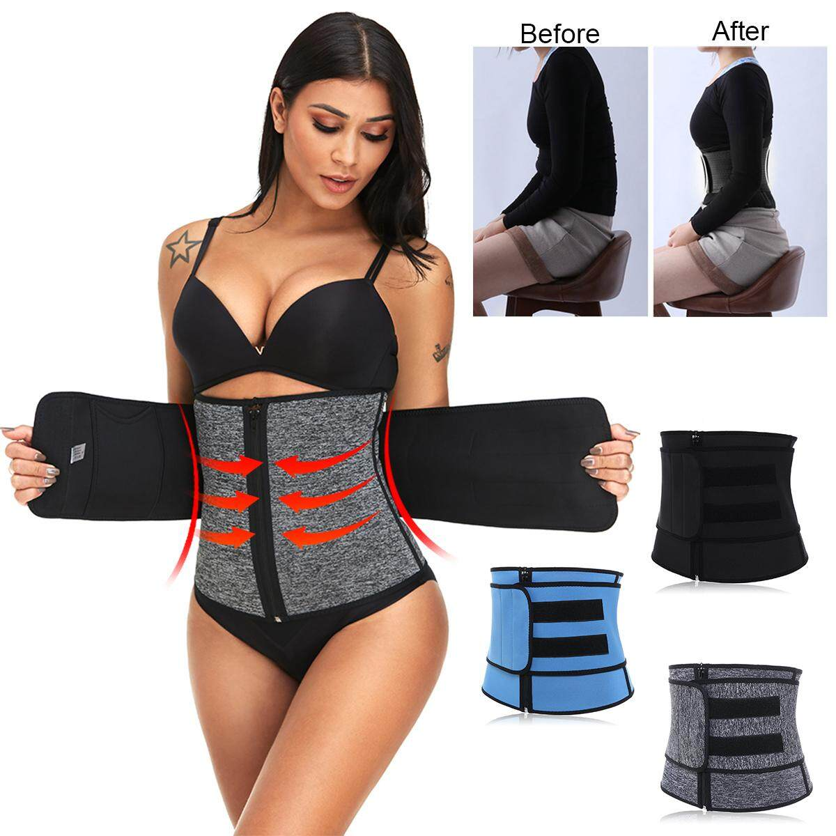 Sport Waist Cincher Corset Girdle Belt Body Shaper Tummy Trainer Belly Training【black】 By Freebang.