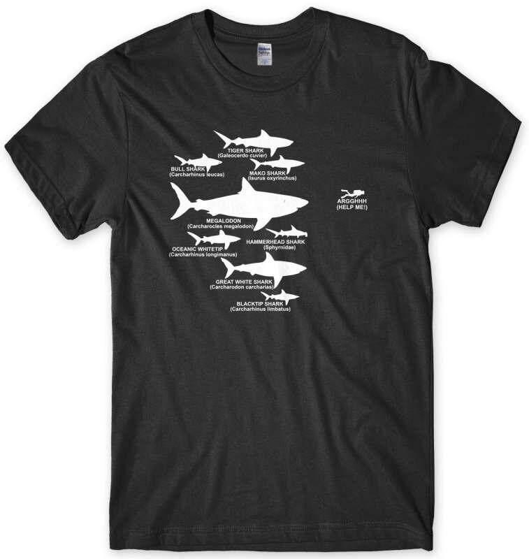 Hiu Hirarki Penyelam Menyelam Lucu Pria T-shirt