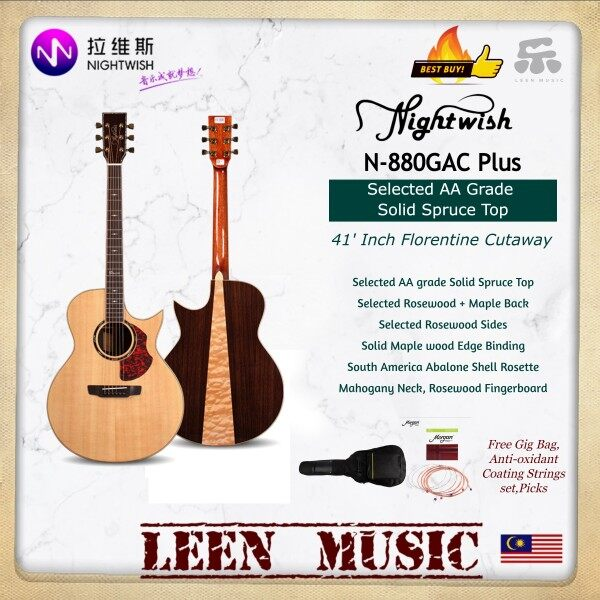 Nightwish N880GAC Plus Dawn Series Acoustic Guitar - Selected Solid AA grade Spruce Top Rosewood mix Maple Back Rosewood Sides Free Gifts 41 Florentine cutaway Good Quality Tone - Leen Music Malaysia