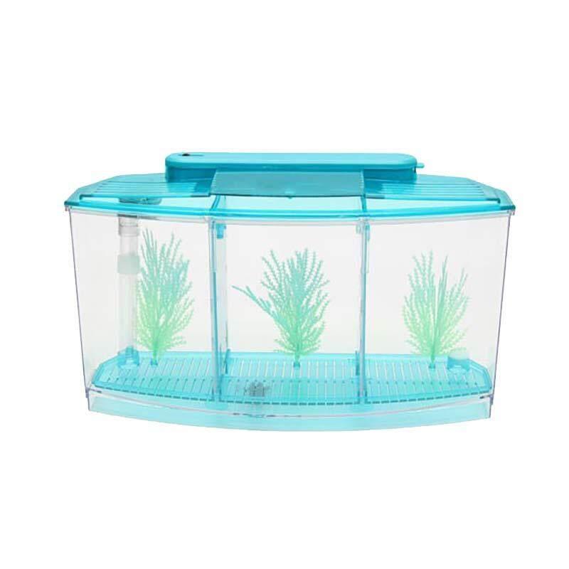Triple Cube 6 Led Light Betta Aquarium Separate Spawning Box Fish Tank Blue