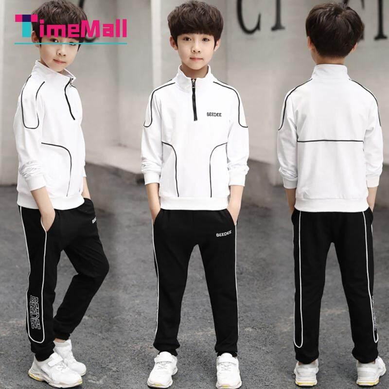 Timemall Kids Boy Áo Quần Phù Hợp Với 2 Cái/bộ Dài Tay Trẻ Em Áo Chui Khoá Kéo Áo + Quần Bộ Đồ Thể Thao Nhật Bản