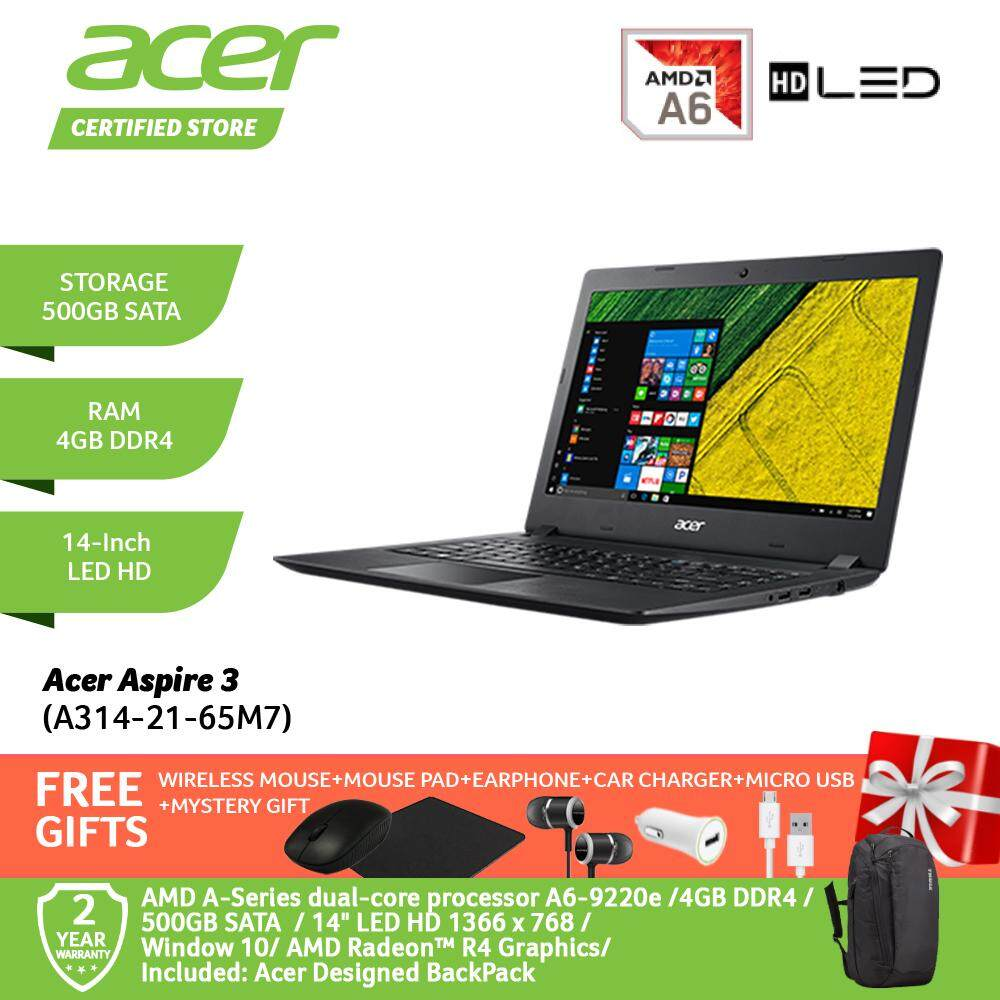 Acer Aspire 3 A314-21-65M7 Notebook NX.HERSM.002 Obsidian Black /e Processor A6-9220e/4GB/500GB/AMD Radeon R4/WIN 10/14-Inch HD+Free WIRELESS MOUSE+MOUSE PAD+EARPHONE+CAR CHARGER+MICRO USB+MYSTERY GIFT Malaysia
