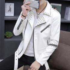 Áo khoác da đinh tán nam tính thời trang Hàn Quốc