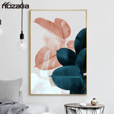 Hozada tranh treo tường trang trí phòng ngủ Canvas Art Print Wall Poster Wall Pictures Plant Leaves Painting Wall Art for Bedroom Living Room Home Decor Pine Wood Frame 30×40cm