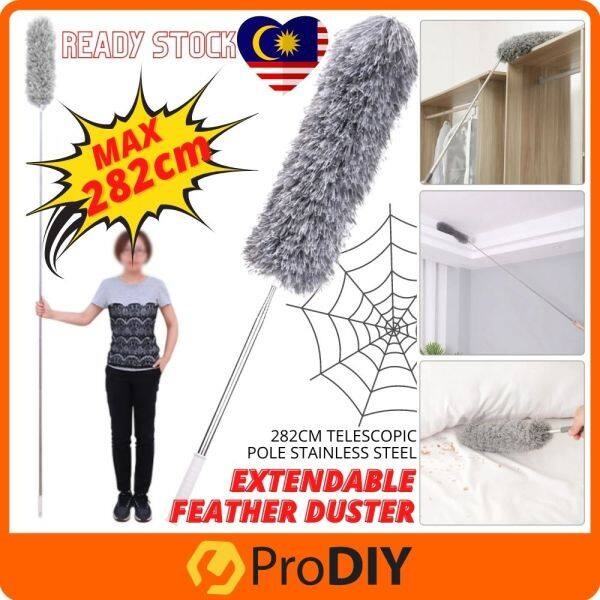282cm Extendable Duster Feather with Telescopic Pole Stainless Steel Microfiber Duster Cleaning Cobweb Cars Home Sawang