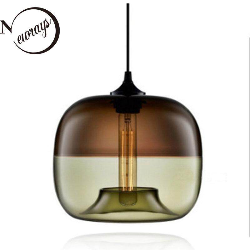 {Newrays} Modern Nordic Art Deco Colorful Hanging Glass Pendant Lamp Lights Fixtures E27 LED For Kitchen Restaurant Living Room Bedroom Ceiling Lights