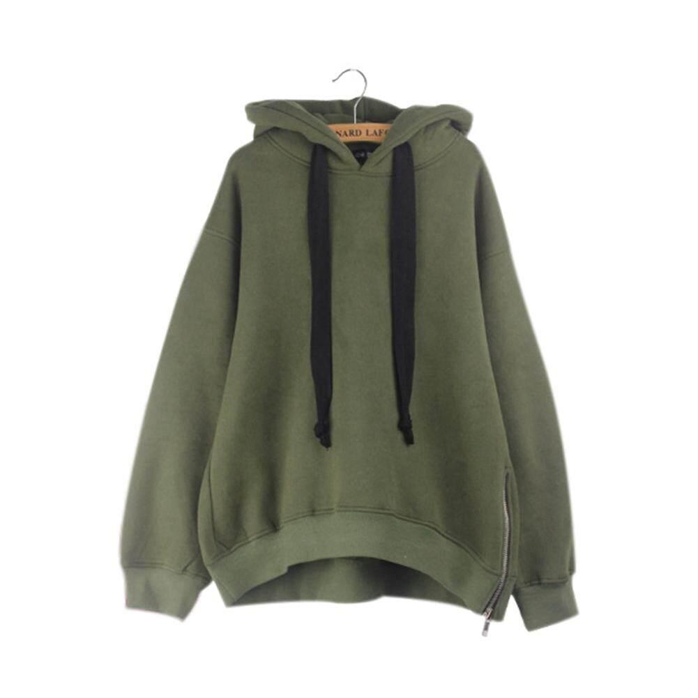 875d9f0c26a4 Women Long Sleeve Plain Style Loose Drawstring Hooded Hoodie Casual  Sweatshirt