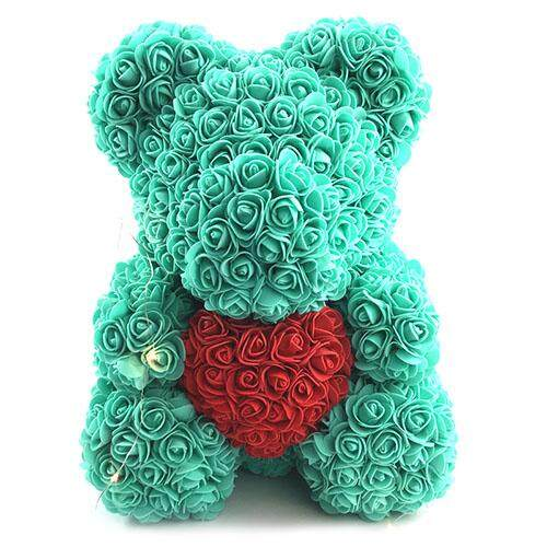 Finether Valentines Birthday Gift Rose Color Matching Flower Bear 40cm