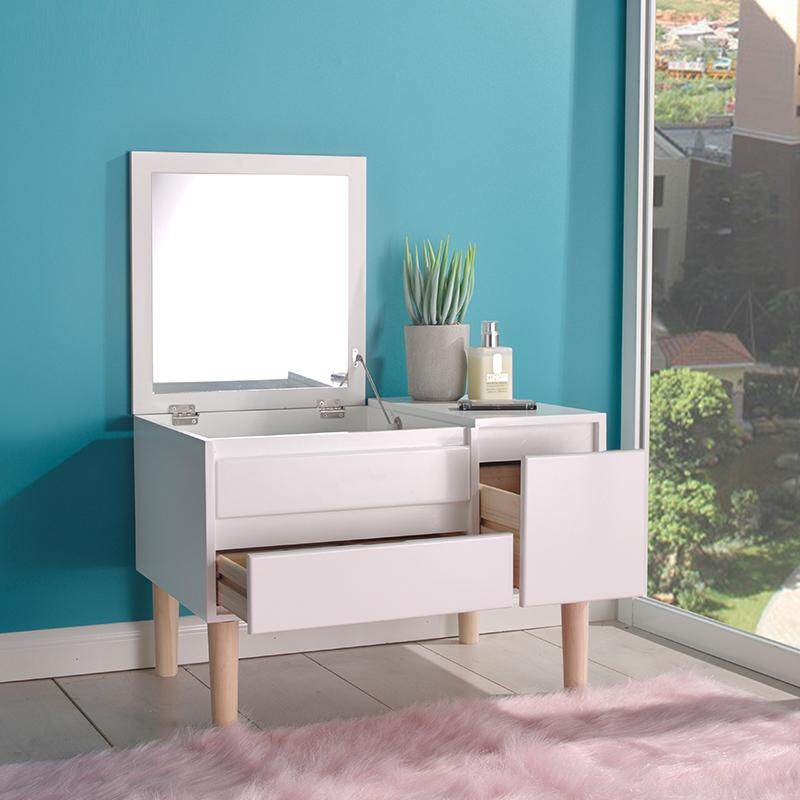 Vanity Dressing Table Set with Foldable HD Mirror, Solid Wood Legs, 2 Drawers, Big Organizer, Bay Window Makeup Dresser, Easy Assembly, Gift for Mom