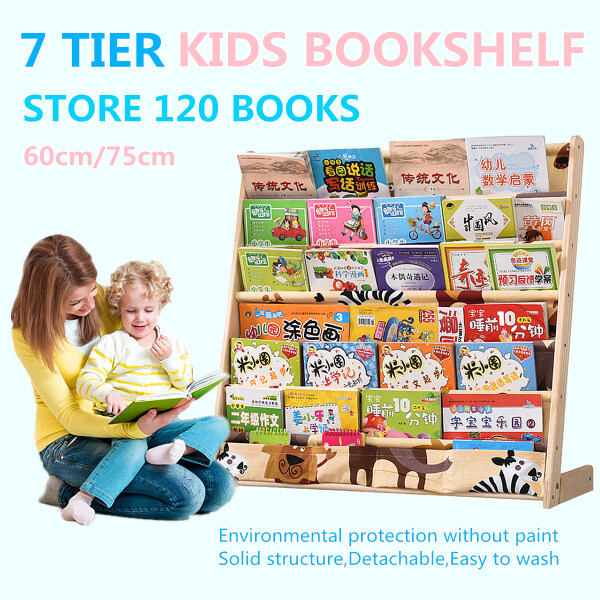 7 Tier Kids Book Shelf Storage Solid Wood Rack Bookshelf Organizer Bookcase Display Holder