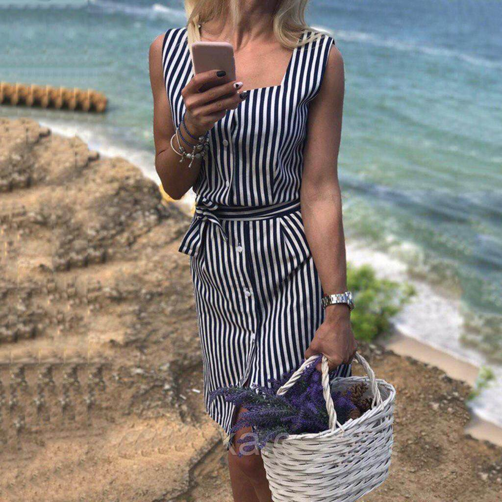 862487835d8 Women Sleeveless Striped Print Slim Casual With Buttons Dress