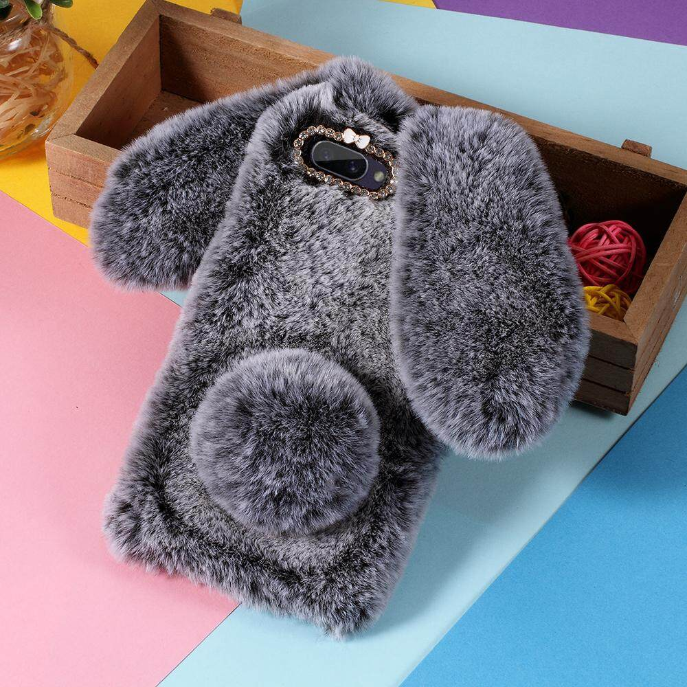 Giá For OPPO A3s Rabbit Shape Fluffy Fur Coated TPU Cellphone Cover with Rhinestone Decor