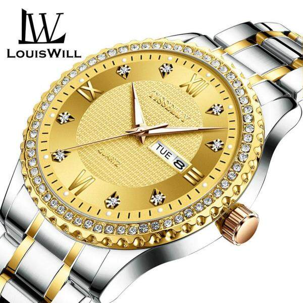 LouisWill Classic Men Diamond Watches Luxury Gold Business Watch Stainless Steel Quartz Wristwatches Luminous Waterproof Quartz Watch with Calendar Analog for Male Malaysia