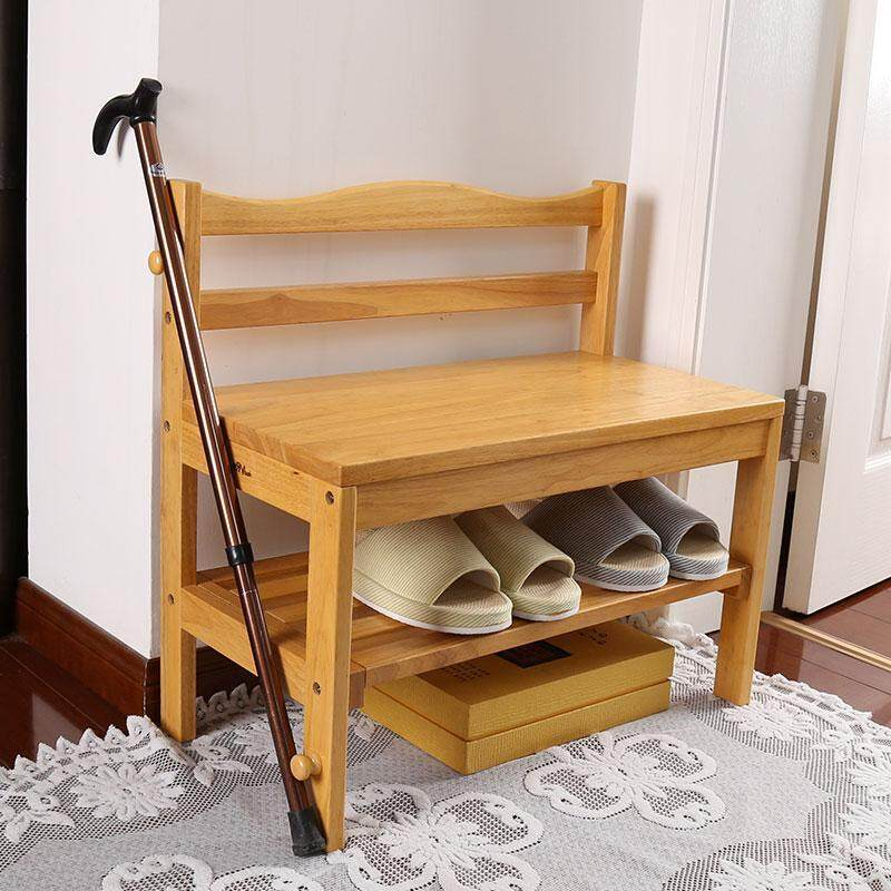 Solid Wood Shoe Bench Storage Bench Modern Simple Back-to-Back Reception Stand Shoe Cabinet Hall Wear Shoe Bench Old People Change Shoe Bench