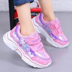 Giày bé gái cá tính thời trang xuân thu, giày thể thao trẻ em mẫu mới, giày da công chúa màu tím hồng đáng yêu cho bé gái – INTL