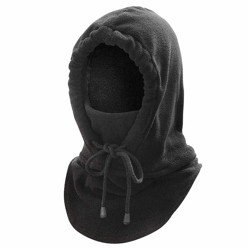 Balaclava Thermal Thickening Fleece Hat Hood (Black)