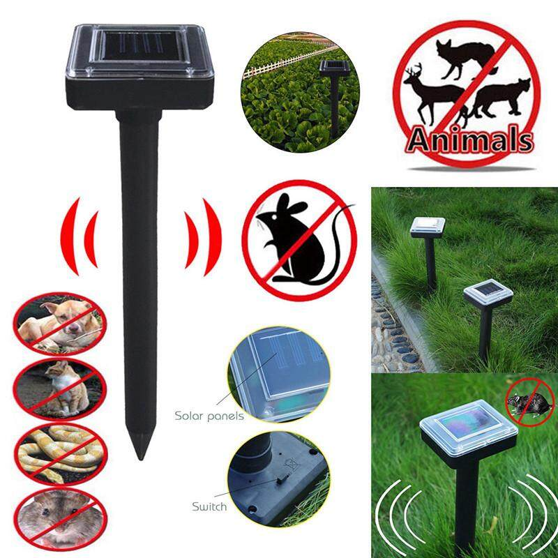 2Pcs Animal Repellent Solar Powered Pests Repeller with Motion Sensor for Repelling Squirrels Birds Raccoon Mice Cat Dog (Black)