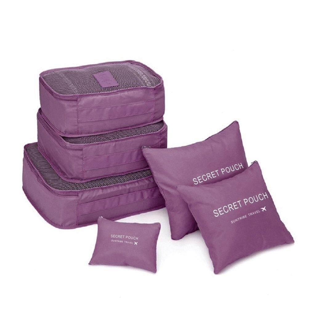 6 Pcs/set(10 Colors) Square Travel Luggage Storage Bags Clothes Organizer Pouch Case.
