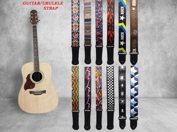 Guitar Acoustic Electric Classical Bass Guitar Strap Guitar Belt Graphic Strap Tali Gitar Malaysia