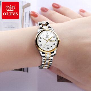 Đồng hồ nữ mặt tròn cổ điển chất liệu thạch anh chất liệu thép không gỉ chống trầy xước OLEVS thumbnail