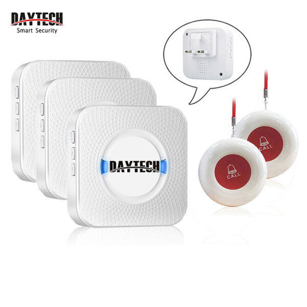 DAYTECH Calling System Pager Caregiver Pager Smart Call System for Patient/Elderly/Home/Nursing Home/Hospital 3 Receiver With 2 Call Button CC01