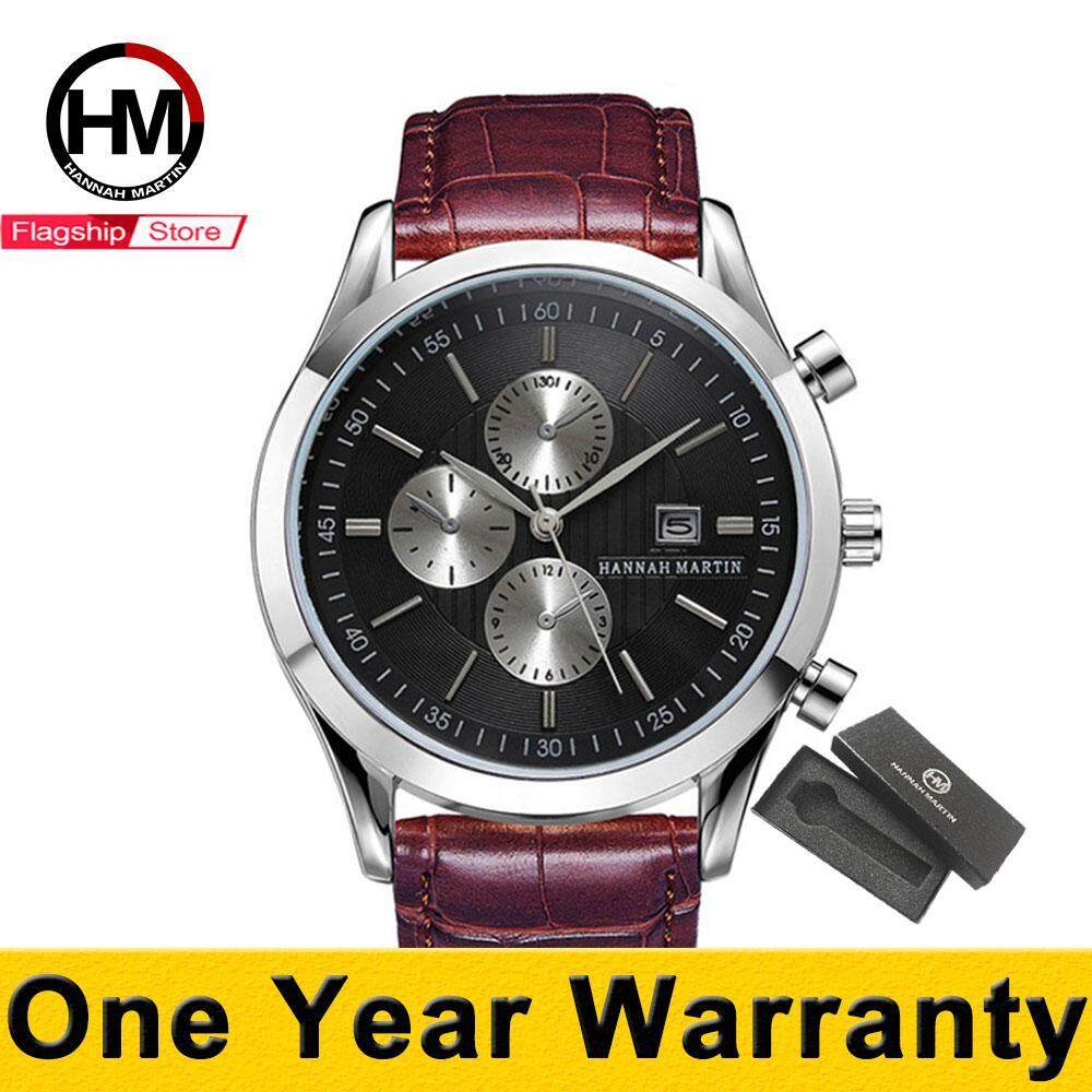 [11.11 CHUP DULU] HANNAH MARTIN Sports Watch For Men Business Calendar Waterproof Casual Quartz Watches Leather Strap Black Dial Brown Strap Malaysia