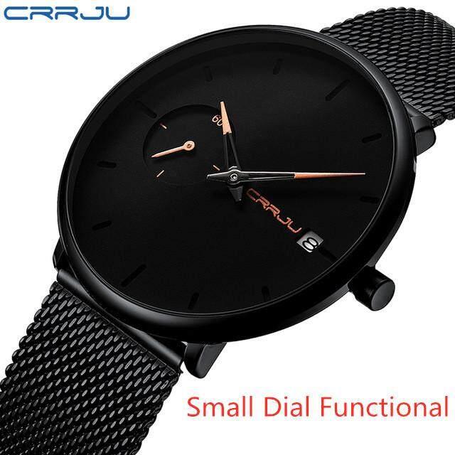 Crrju Sports Date Mens Watches Top Brand Luxury Waterproof Sport Watch Men Ultra Thin Dial Quartz Watch Casual Relogio Masculino Malaysia