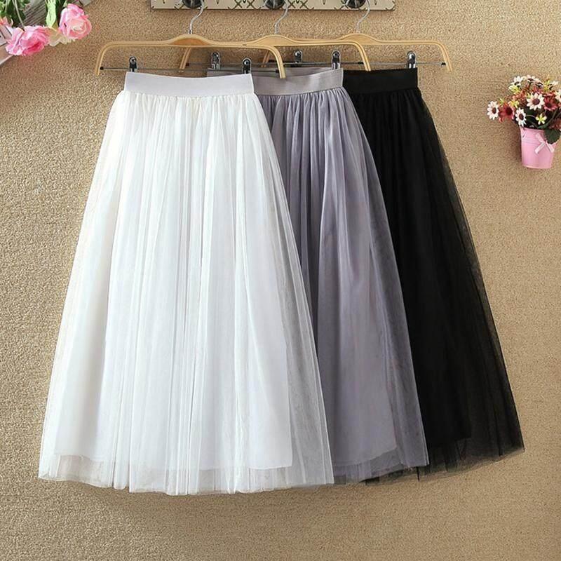 c672ca15626 Tulle Skirts Elastic High Waist Long Mesh Skirt Women s Tutu Maxi Pleated  Skirt