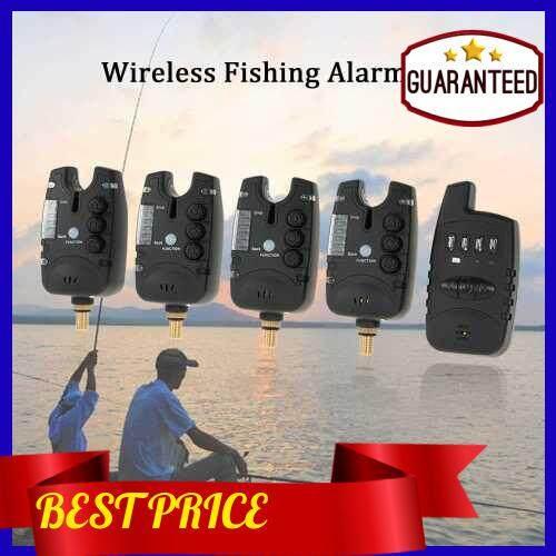 Lixada Wireless LED Fishing Alarm Alert Set with Case 4 Fishing Bite Alarms 1 Receiver