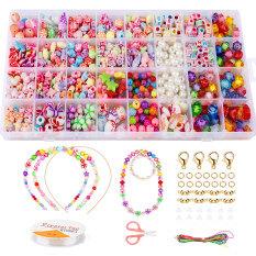 Bộ hạt acrylic nhiều màu 32 ô đồ chơi làm trang sức vòng tay/ dây chuyền đính cườm