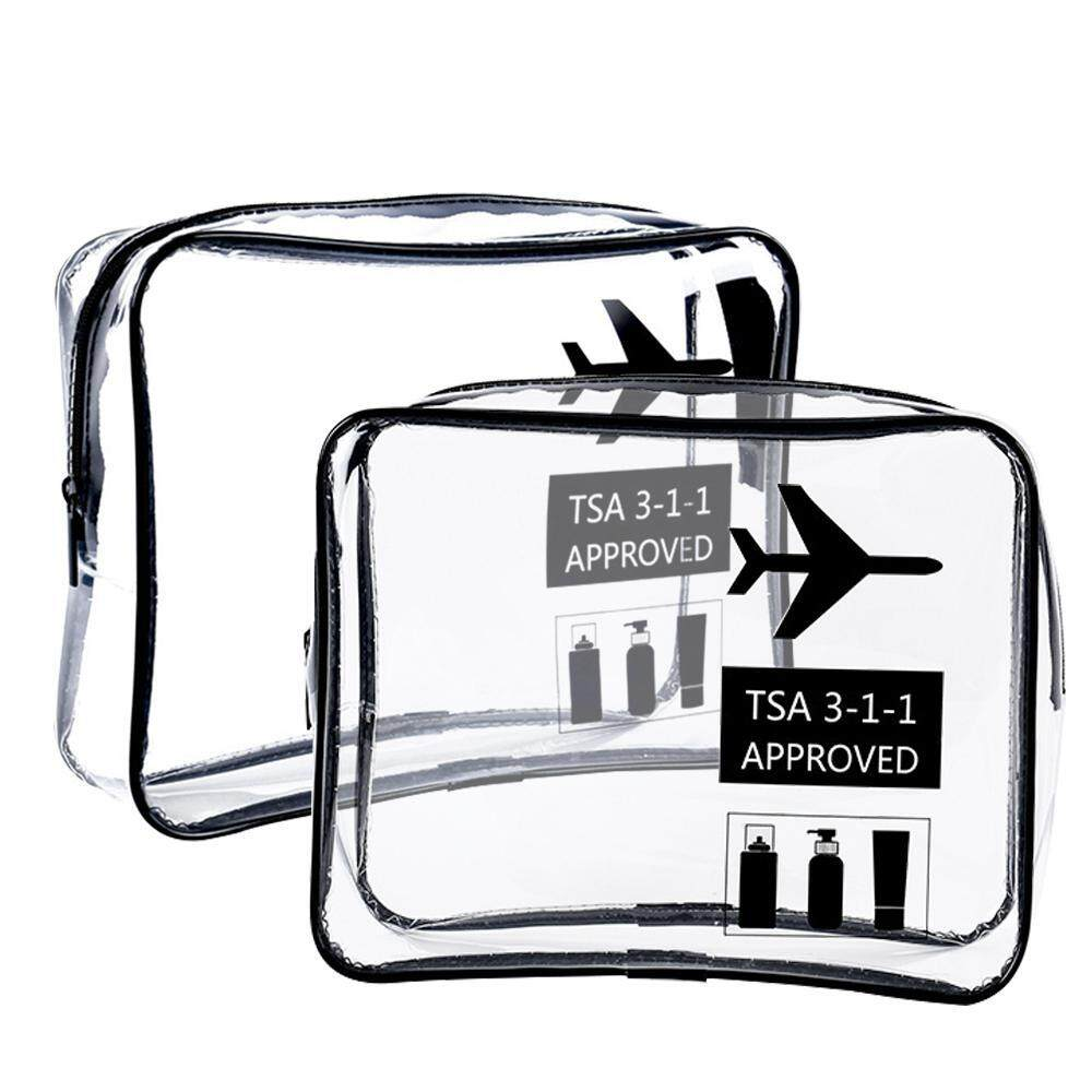 FlyUpward 2 3pcs Clear Toiletry Bag TSA Approved Travel Carry On Airport  Airline Quart Size f7980379aafb7