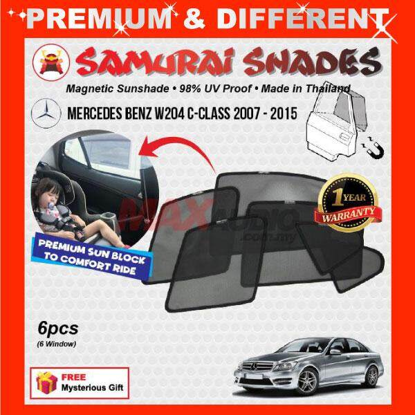 [FREE GIFT] MERCEDES BENZ W204 C-Class 2007 - 2015 (6pcs) ORIGINAL SAMURAI  SHADES 100% Fully Magnetic 3 Second Plug and Play 98% UV Proof Car Sun
