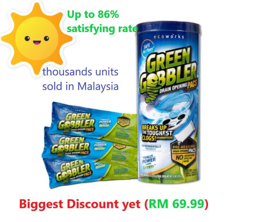 (malaysia Official)green Gobbler Drain Cleaner/ Drain Opener/clog Remover /sink /drain Cleaner 1x3 Pacs (free 1x Green Gobbler Hair Grabber Worth Rm 25 !) By Official Green Gobbler Malaysia.