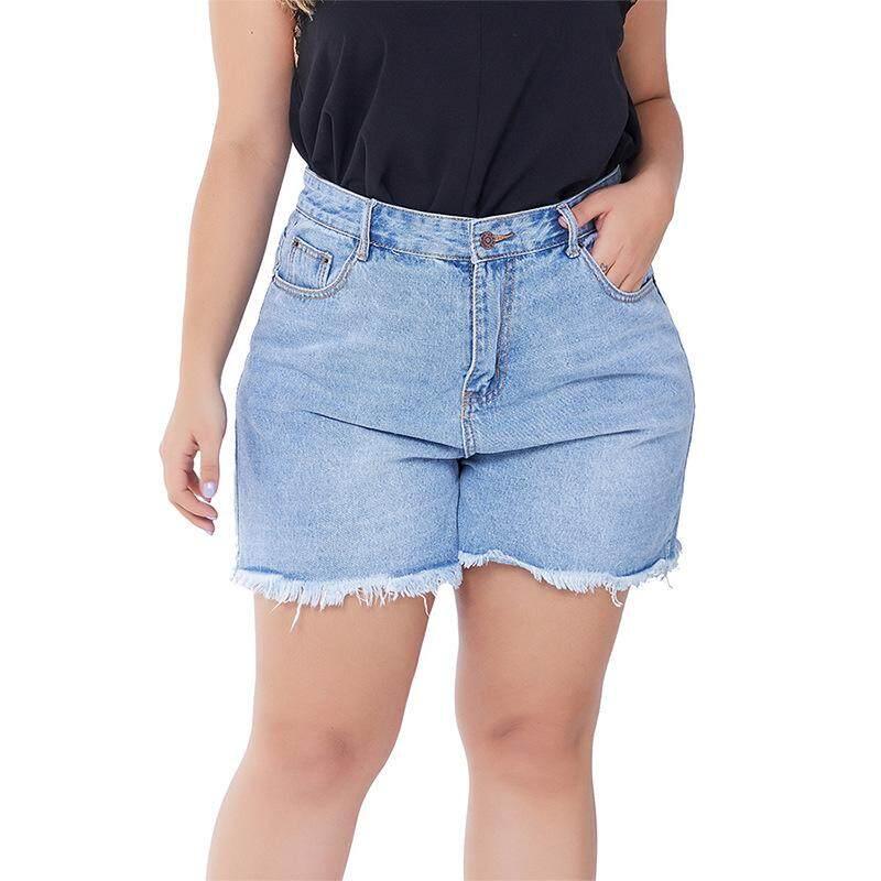 Plus Size Jeans Women Shorts Denim Jeans Lady Blue Jeans Short Pants Trousers Size XXL