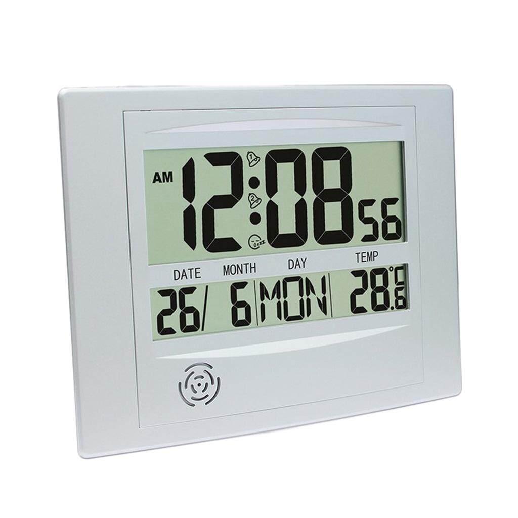 Perfk Creative LCD Screen Digital Alarm Clock Table Wall Clock Indoor Temperature Meter Calender Clock