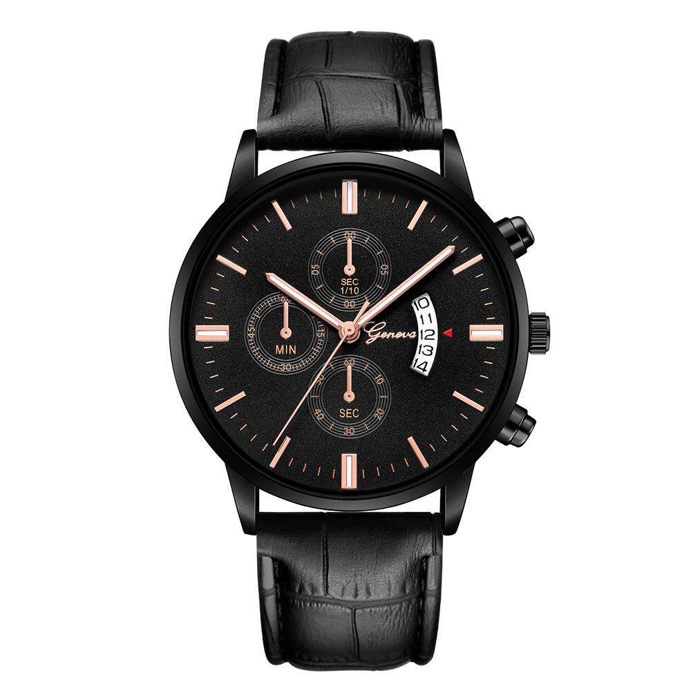 KingTop Mens Geneva Watch #627 Fashion Luxury Scrub Black Clock Dial Stainless Steel Leather Mens Business Watch jam tangan lelaki 2019 Malaysia
