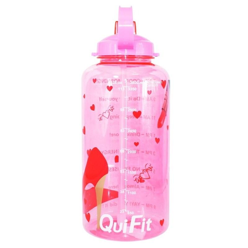 [CW] QuiFit Chai Nước Thể Thao 3.8 Gallon Mới Với Ống Hút Uống Và Mốc Đánh Dấu Thời Gian Không Chứa BPA Tạo Động Lực