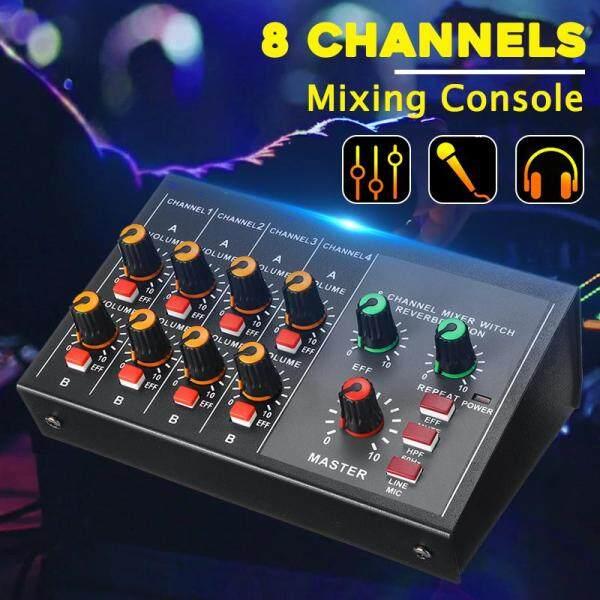Bộ Trộn Di Động Mini 8 Kênh Phòng Thu Trực Tiếp Ghi Âm Bàn Điều Khiển Phối Khí DJ-
