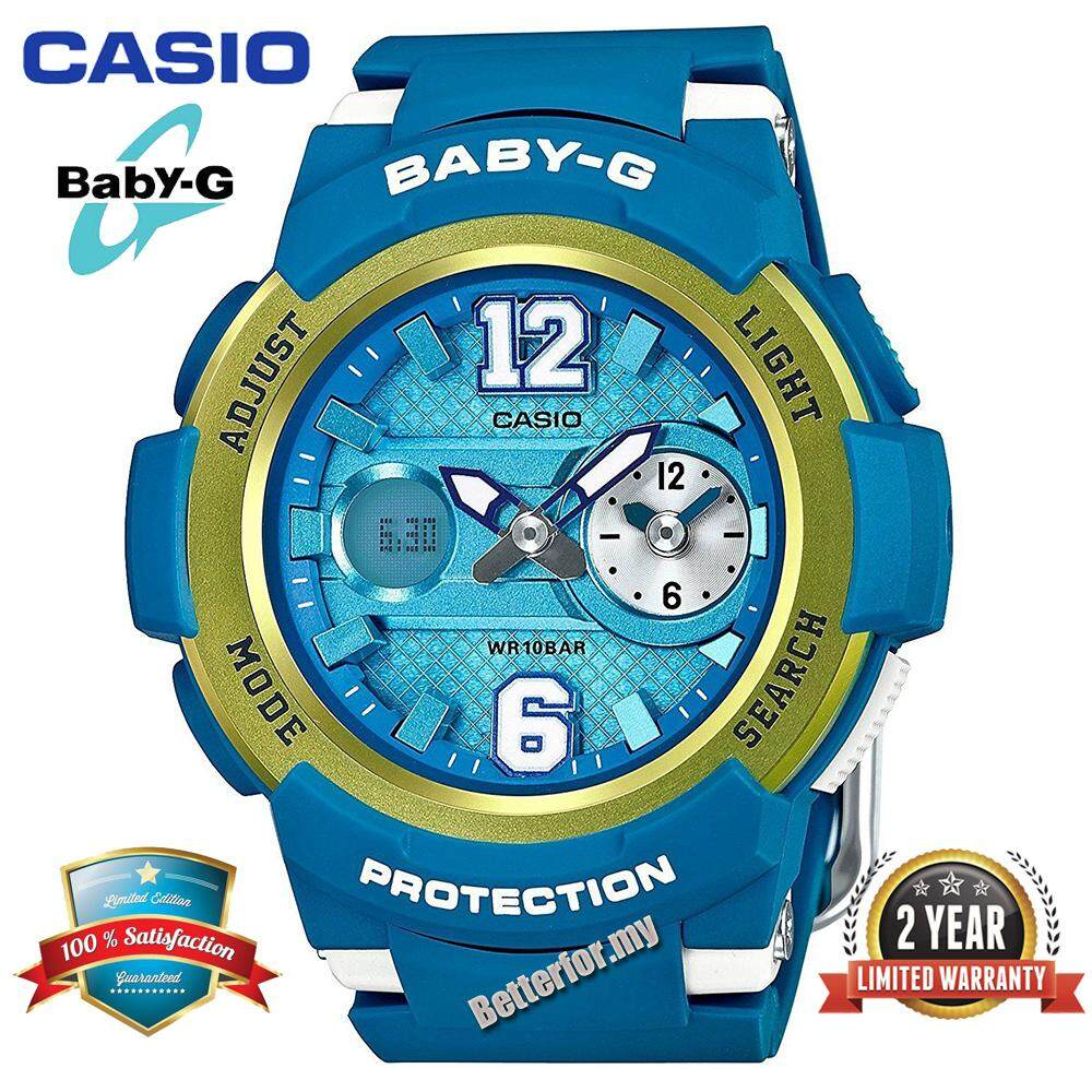 (Ready Stock)Original Casio Baby G_BGA-210-2BJF Women Sport Digital Watch Duo W/Time 100M Water Resistant Shockproof and Waterproof World Time LED Light Girl Wist Sports Watches with 2 Year Warranty BGA210/BGA-210 Blue Gold Malaysia