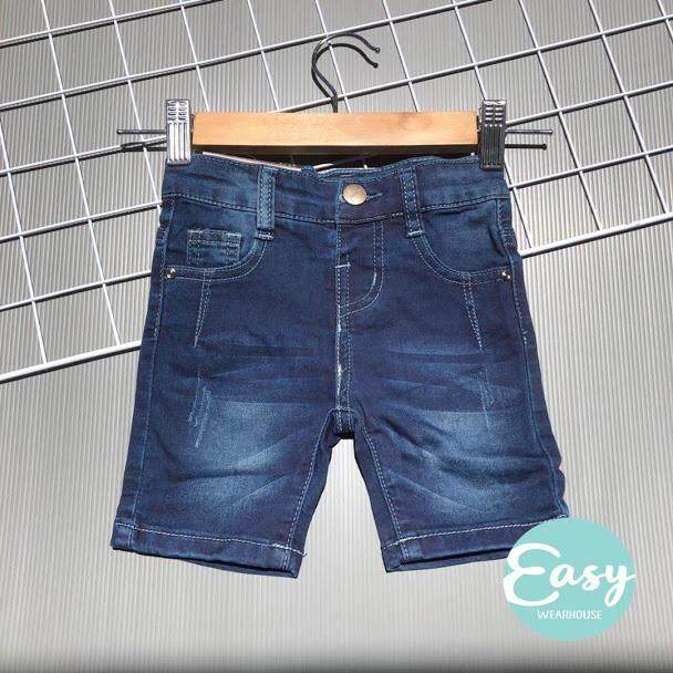 [6m-3y] Baby Toddler Boy Denim Jeans Short Pants Adjustable Waist By Easy Wearhouse.