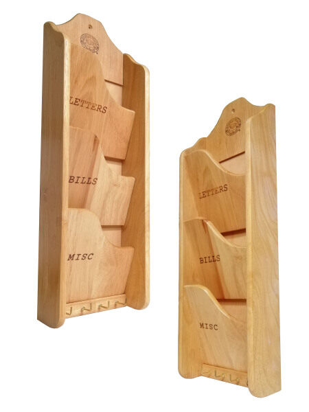 Wooden Wall-Mounted Letter Rack with Hook Key Holder (3 tier)