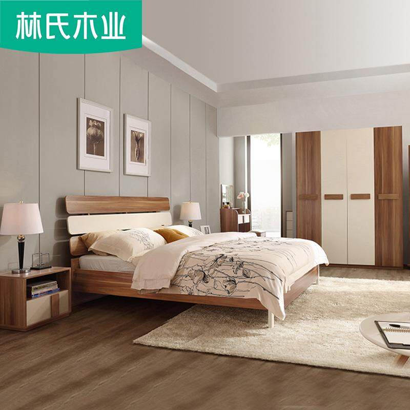 Linsy 6 in 1Bedroom Set Modern Design Bedframe + Wardrobe + Dresser Table + Stool + Bed Side Table x 2 LINSHIMUYE 林氏木业