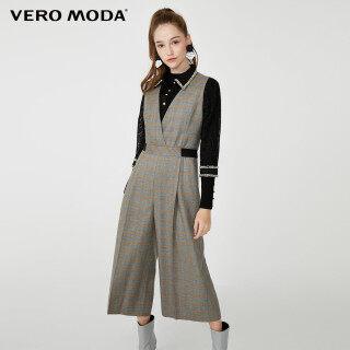 Vero Moda Áo Liền Quần Lửng Cạp Rộng Kẻ Ca Rô Cổ Điển Cho Nữ 32019X501 thumbnail