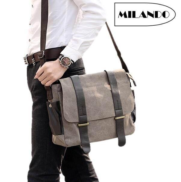 302b8ba0c7 MILANDO Men Vintage Canvas PU Leather School Messenger Sling Bag Bags Beg  Lelaki (Type 6