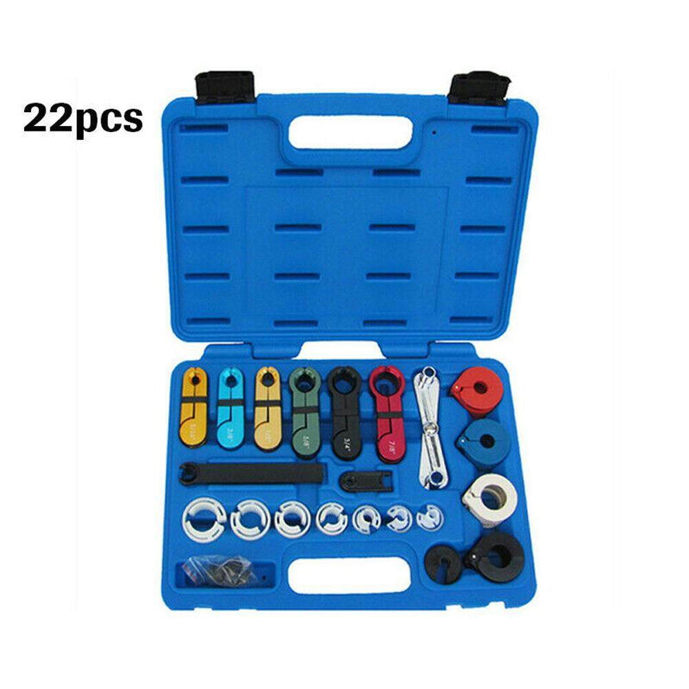 22pcs A/C Fuel Transmission Metal Car Quick Air Condition Line Coupling With Case Universal Disconnect Tool Set